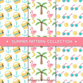 Kolekcja płaska trzech dekoracyjnych wzorów letnich