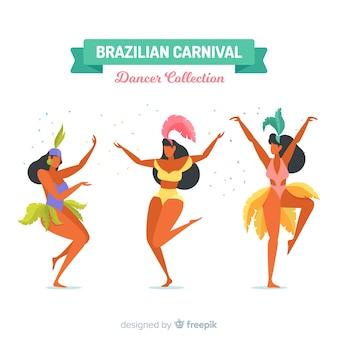 Kolekcja płaski brazylijski karnawał tancerz