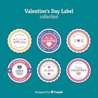 Kolekcja płaski etykieta valentine