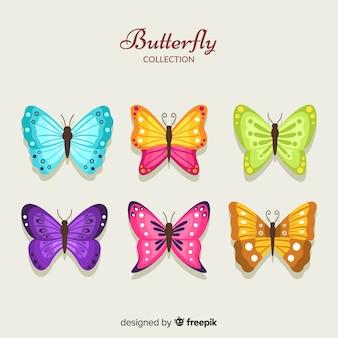 Kolekcja płaski kolorowy motyl