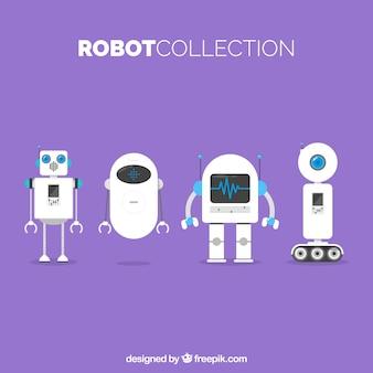 Kolekcja płaski robot z różnymi pozami