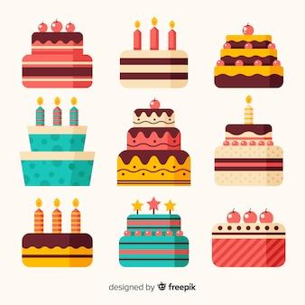Kolekcja płaski tort urodzinowy