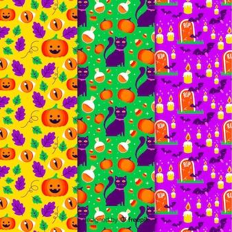 Kolekcja płaski wzór halloween