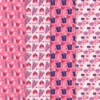 Kolekcja płaski wzór walentynki