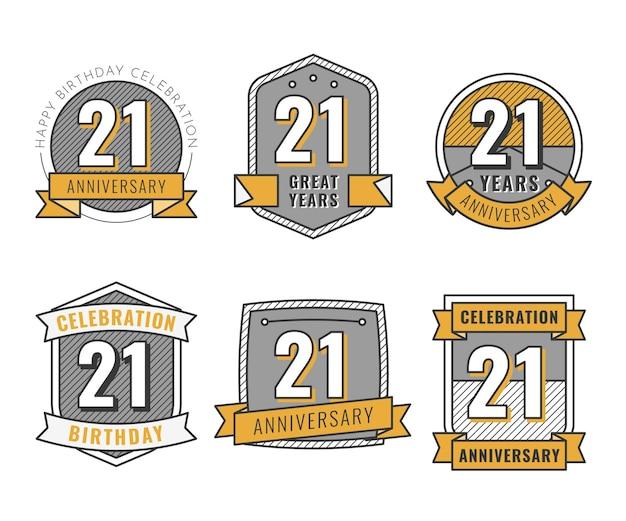 Kolekcja płaskich 21 rocznicowych odznak