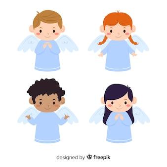 Kolekcja płaskich aniołów boże narodzenie