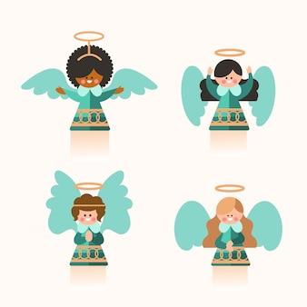 Kolekcja płaskich aniołów bożego narodzenia