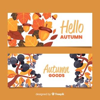 Kolekcja płaskich banerów jesienią