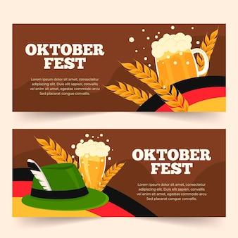 Kolekcja płaskich banerów oktoberfest