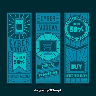 Kolekcja płaskich banerów poniedziałek cyber