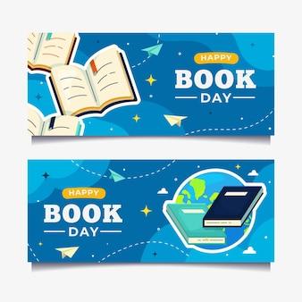 Kolekcja płaskich banerów światowego dnia książki