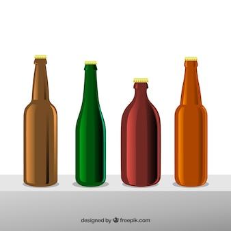 Kolekcja płaskich butelek piwa