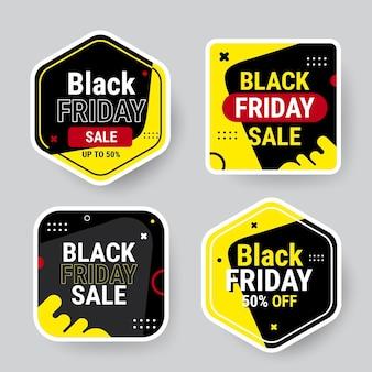 Kolekcja płaskich czarnych naklejek w piątek