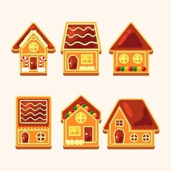 Kolekcja płaskich domków z piernika