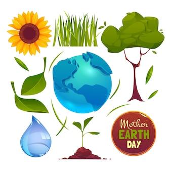 Kolekcja płaskich elementów dzień matki ziemi