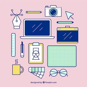 Kolekcja płaskich elementów graficznych