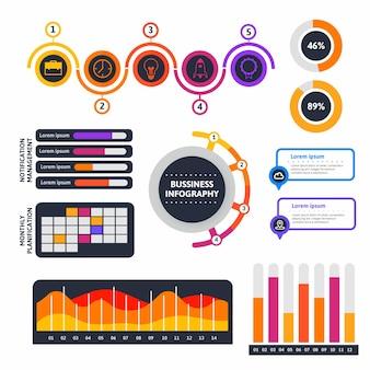 Kolekcja płaskich elementów infografiki