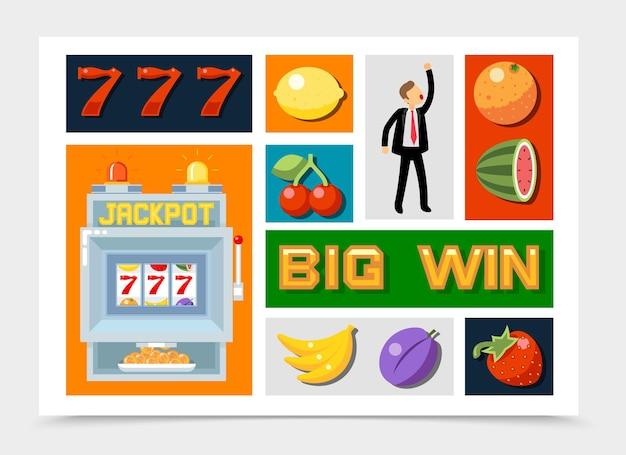 Kolekcja płaskich elementów kasyna z numerami siedem symboli owoców dla zwycięzcy jackpota na automacie na białym tle
