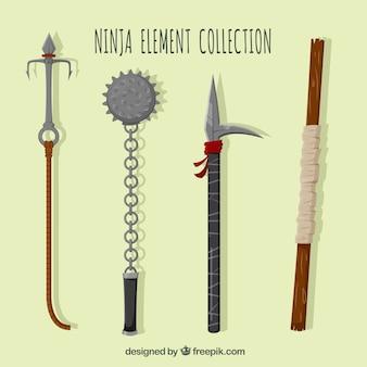 Kolekcja płaskich elementów ninja z czterech