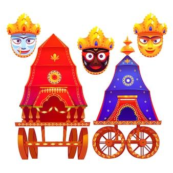 Kolekcja płaskich elementów rath yatra