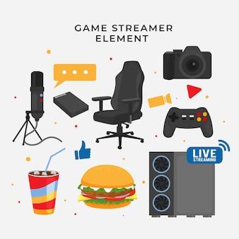 Kolekcja płaskich elementów streamera gry