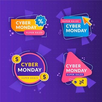 Kolekcja płaskich etykiet cyber poniedziałek