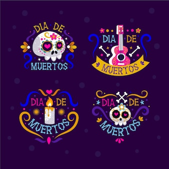 Kolekcja płaskich etykiet dia de muertos