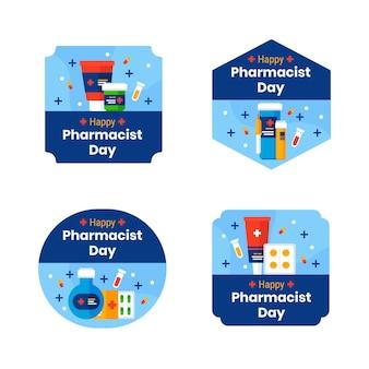 Kolekcja płaskich etykiet dzień farmaceuty