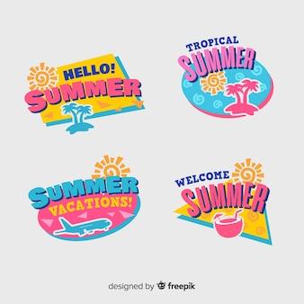 Kolekcja płaskich etykiet letnich