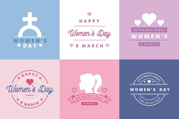 Kolekcja płaskich etykiet na dzień kobiet
