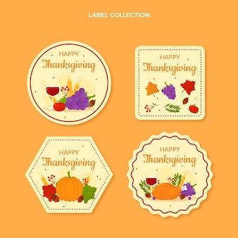 Kolekcja płaskich etykiet na święto dziękczynienia