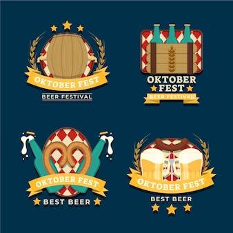 Kolekcja płaskich etykiet oktoberfest