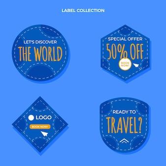 Kolekcja płaskich etykiet podróżnych