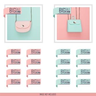 Kolekcja płaskich etykiet rabatowych na dużą sprzedaż w pastelowym kolorze niebieskim i różowym