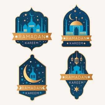 Kolekcja płaskich etykiet ramadan