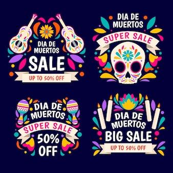Kolekcja płaskich etykiet sprzedaży dia de muertos