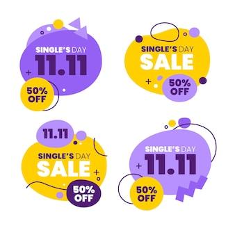 Kolekcja płaskich etykiet sprzedaży dnia singli