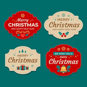 Kolekcja płaskich etykiet świątecznych