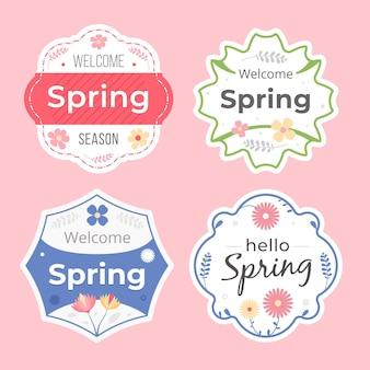 Kolekcja płaskich etykiet wiosennych