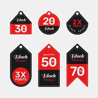 Kolekcja płaskich etykiet z czarnego piątku