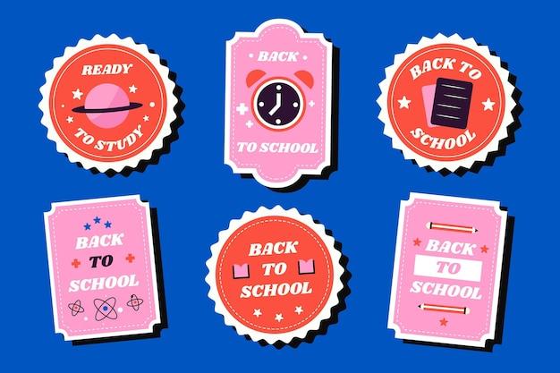 Kolekcja płaskich etykiet z powrotem do szkoły