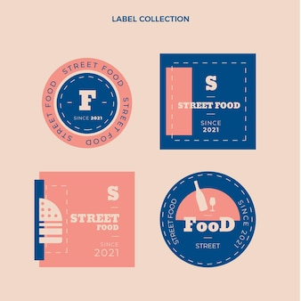 Kolekcja płaskich etykiet żywności ulicznej