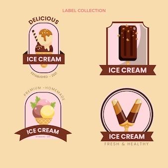 Kolekcja płaskich etykiet żywności