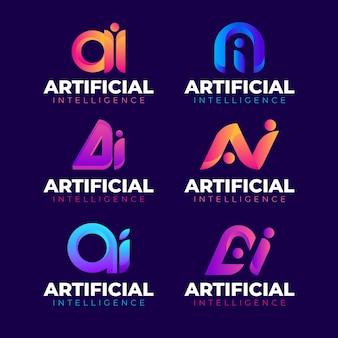 Kolekcja płaskich gradientowych logo ai