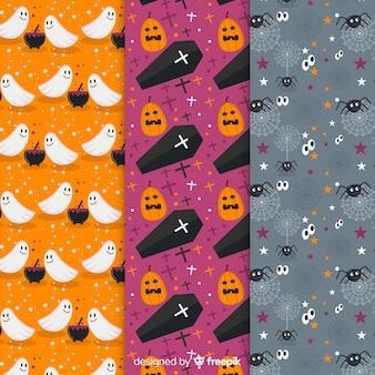 Kolekcja płaskich halloween z duchami i dyniami