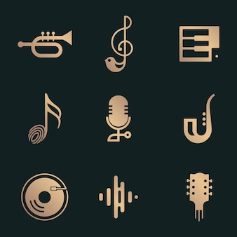 Kolekcja płaskich ikon wektorowych muzyki w kolorze czarnym i złotym