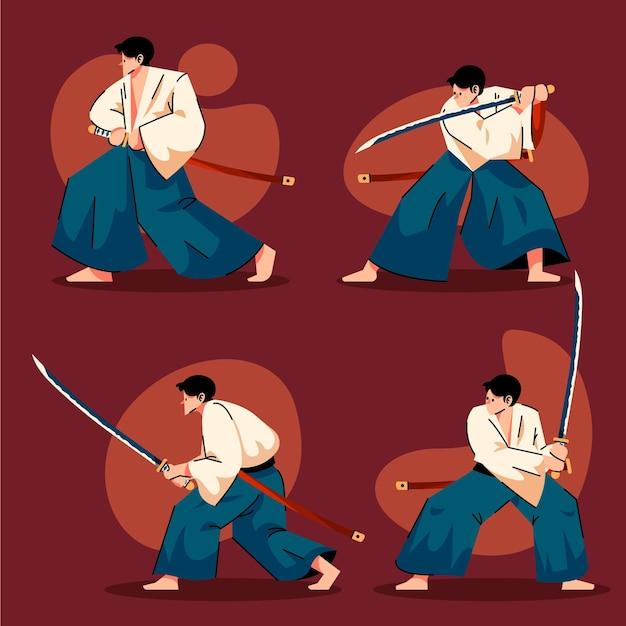 Kolekcja płaskich ilustracji samurajów