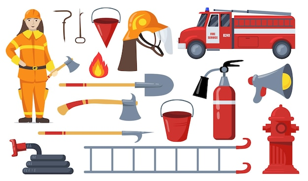 Kolekcja płaskich ilustracji strażaka i sprzętu gaśniczego