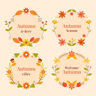 Kolekcja płaskich jesiennych etykiet