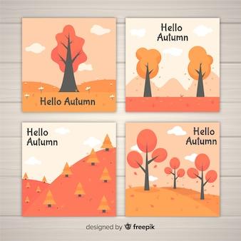 Kolekcja płaskich jesiennych kart
